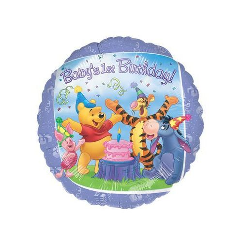 Balon foliowy okrągły kubuś puchatek na roczek - 45 cm - 1 szt. marki Amscan