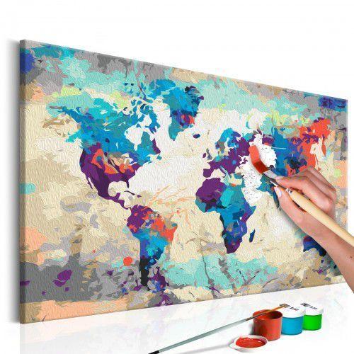 Obraz do samodzielnego malowania - Mapa świata (błękitno-czerwona), A0-MA_0040 (10110381)
