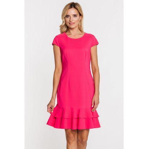 Różowa sukienka z podwójną falbaną - Bialcon, kolor różowy