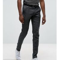 tall skinny smart salt n pepper trousers - black marki Selected homme