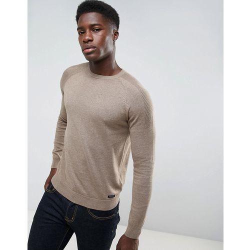 textured shoulder knit jumper - brown, Threadbare