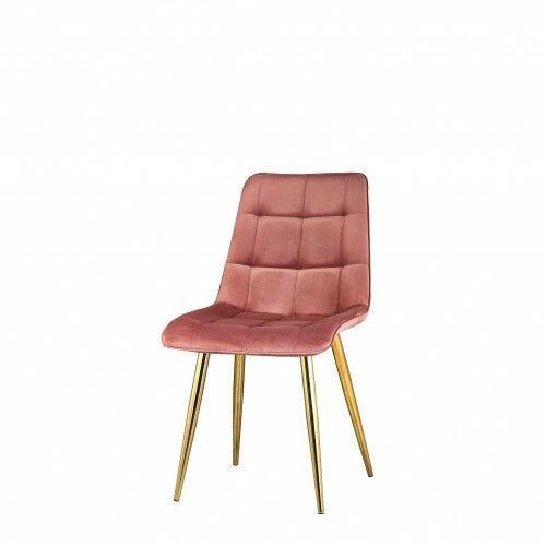 Krzesło tapicerowane welur różowe nogi złote big coral dostawa 0zł marki Big meble