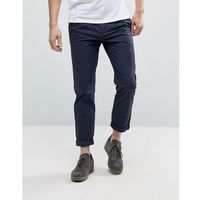 Kiomi tapered fit chinos with pleated waistband - navy