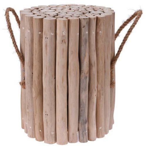 Stołek z naturalnego drewna tekowego, okrągły - taboret, podnóżek (8719202398397)