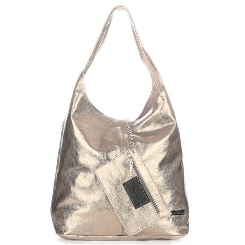 Eleganckie torby z lakierowanej skóry naturalnej firmy złota (kolory) marki Vittoria gotti