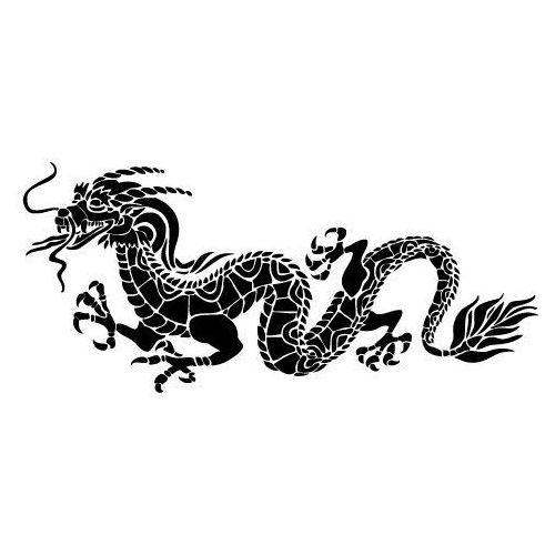 Szablon malarski z tworzywa, wielorazowy, wzór Feng Shui 6 - chiński smok