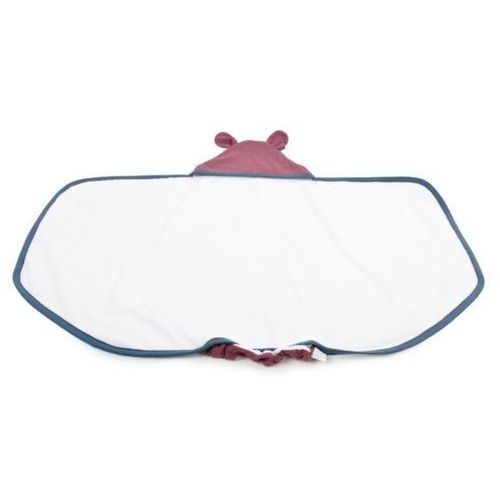 Duży ręcznik z uszkami (kolor lamówki:denim/niebieski, kapturek:bordo) - 130x75 cm - Poofi (5902052850976)