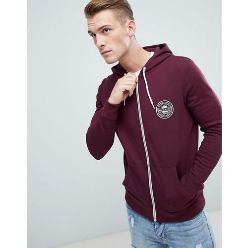 New Look zip through hoodie with mcmxc print in burgundy - Red, kolor czerwony