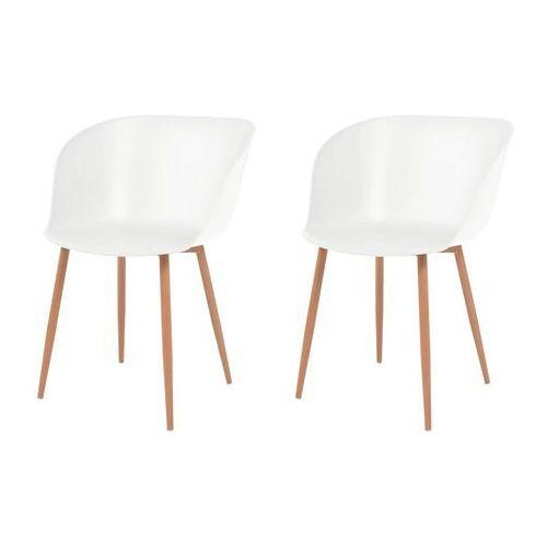 Vidaxl komplet 2 krzeseł, białe, plastikowe siedziska i stalowe nogi