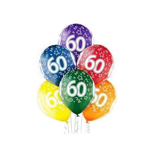 """Balony transparentne z nadrukiem """"60"""" - 12 cali - 6 szt."""
