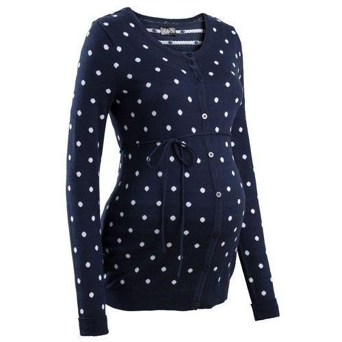 Sweter ciążowy rozpinany w kropki bonprix ciemnoniebiesko-biały w kropki, w 4 rozmiarach