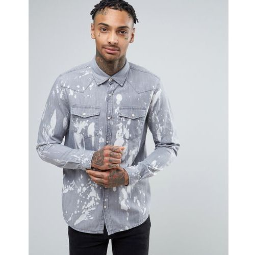 River Island Western Shirt With Paint Splat In Grey Wash In Regular Fit - Blue