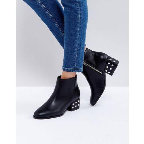 silver stud mid heel ankle boot - black marki London rebel