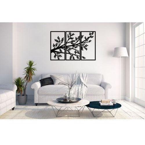 Duży obraz metalowy, dekoracja z motywem roślinnym, tryptyk, panel ścienny, nowoczesna ozdoba wykonana z metalu, szablon na ścianę