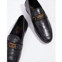 leather loafers in black croc - black marki River island