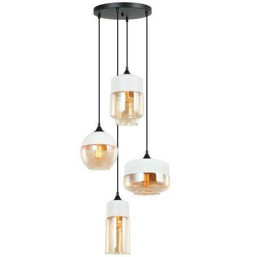 Italux Wisząca lampa skandynawska molina mdm-4364/4 w+amb loftowa oprawa szklany zwis kaskada manhattan biały bursztynowy (5902854532124)