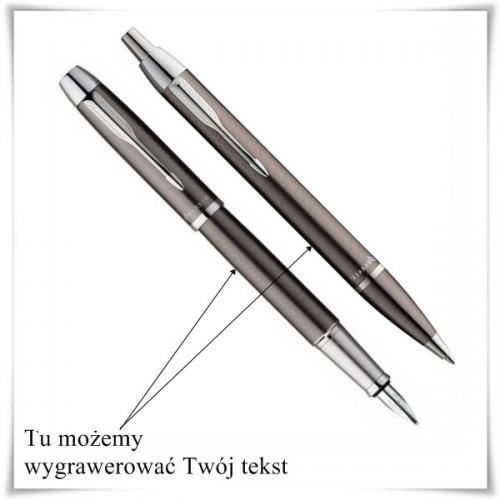Zestaw pióro i długopis Parker IM Gun Metal CT z opcją Twojego graweru - produkt z kategorii- Na imieniny dla męża