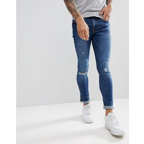 River island super skinny jeans in acid wash blue - blue