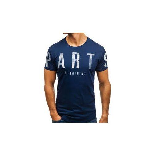 T-shirt męski z nadrukiem granatowy Denley 181167