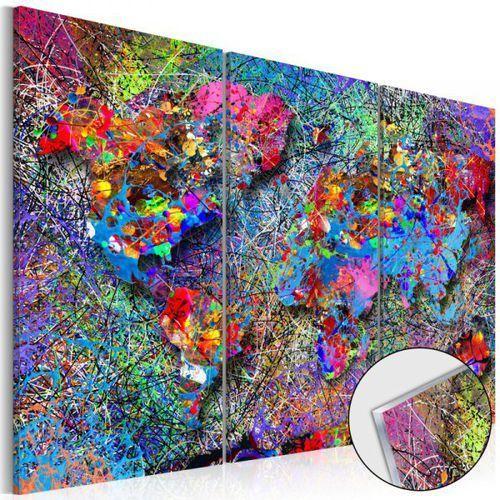 Artgeist Obraz na szkle akrylowym - mapa świata: kolorowe kłębowisko [glass]