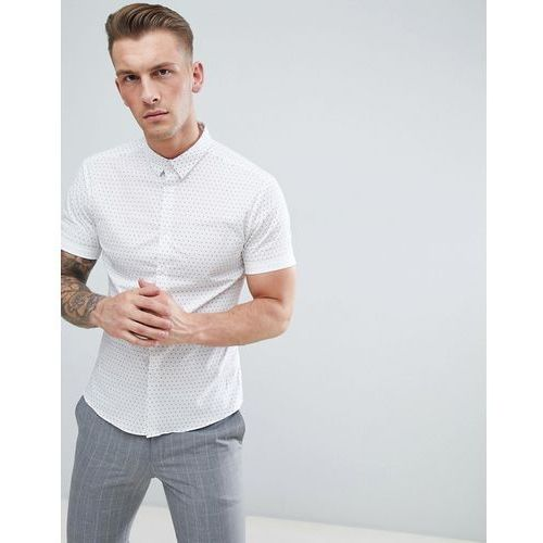 New Look Muscle Fit Shirt With Polka Dot Print In White - White, kolor biały