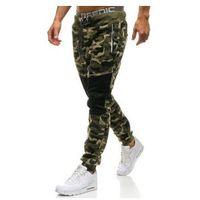 Spodnie męskie dresowe joggery moro-zielone Denley QN274, kolor zielony