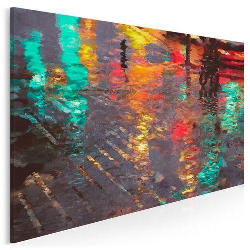 Vaku-dsgn Odbicie deszczowego miasta - nowoczesny obraz na płótnie - 120x80 cm
