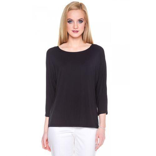 Czarna bluzka nietoperz - Bialcon, kolor czarny
