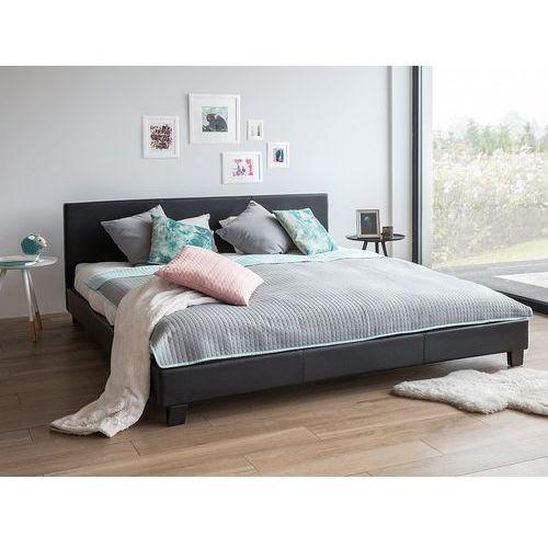Łóżko czarne - do sypialni - 160x200 cm - podwójne - skórzane - ORELLE