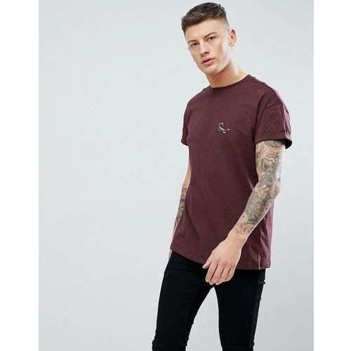 t-shirt with scorpion embroidery in burgundy - red, New look, XS-S