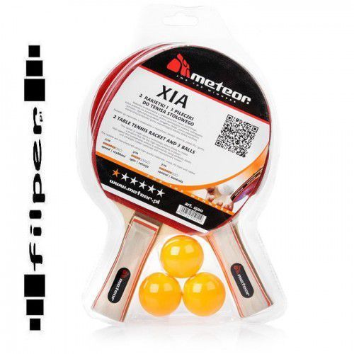 Zestaw 2 rakietki do tenisa stołowego  xia* + 3 piłeczki, marki Meteor