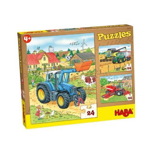 Haba puzzle 3 x 24 elementy - traktor & co. 300444 (4010168211268)