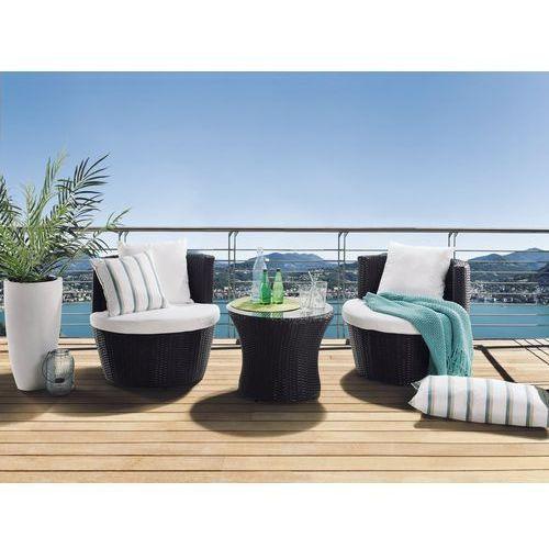 Beliani Rattan meble ogrodowe 1 x stolik, 2 x fotele taras weranda capri (4260580933570)