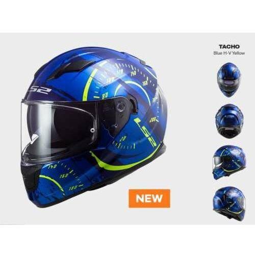 KASK MOTOCYKLOWY COMFORT LS2 FF320 STREAM EVO TACHO BLUE H-V YELLOW - Nowość 2021 roku, AK103205526