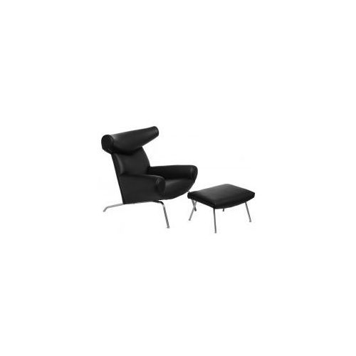 Fotel Wół z podnóżkiem skóra #4 (czarny) D2