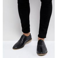 Asos wide fit casual lace up shoes in black leather with perforation detail - black