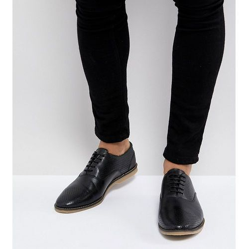 wide fit casual lace up shoes in black leather with perforation detail - black, Asos