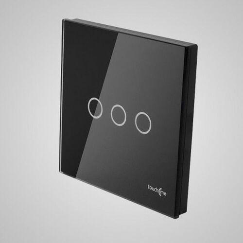 TouchMe Duży panel szklany, łącznik potrójny, czarny TM703B