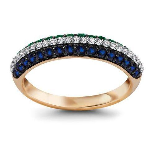 Biżuteria yes Pierścionek z szafirami, szmaragdami i diamentami