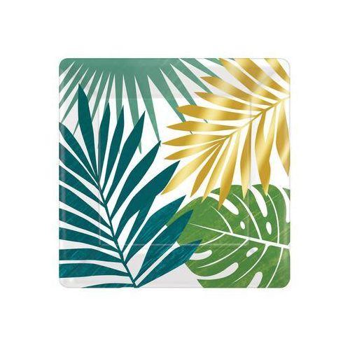 Talerzyki kwadratowe Tropikalne Liście - 18 cm - 8 szt., TALPAP/9269-A
