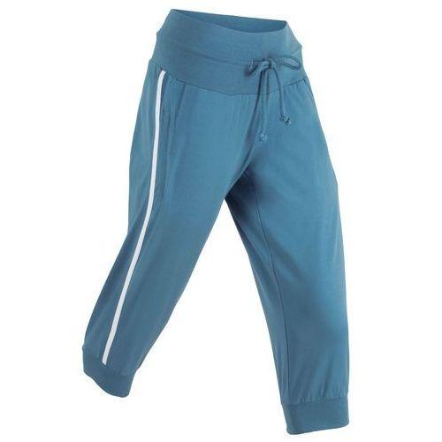 Spodnie sportowe 3/4 bonprix niebieski dżins