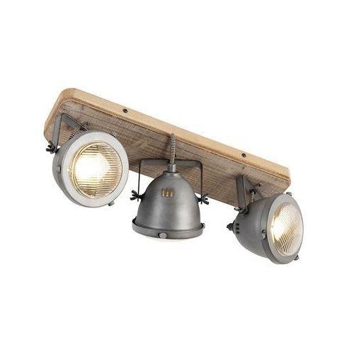 Qazqa Przemysłowa stal punktowa z odchylanym do drewna 3-światłem - emado