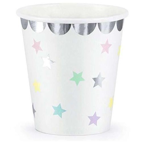 """Kubeczki papierowe """"Jednorożec - Gwiazdki"""", białe, PartyDeco, 180 ml, 6 szt (5902230744790)"""