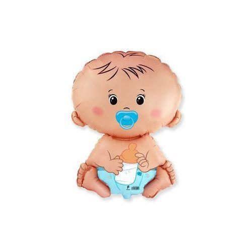 Balon foliowy do patyka - dzidziuś chłopiec - 37 cm - 1 szt. marki Flexmetal balloons