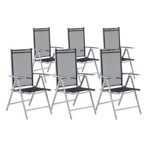 Zestaw do ogrodu 6 krzeseł czarne aluminiowe regulowane catania marki Beliani