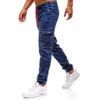 Spodnie jeansowe joggery męskie granatowe Denley Y264, kolor niebieski