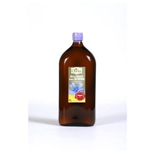 Ol'vita Olej lniany do diety dr budwig tłoczony na zimno, nieoczyszczony 1000 ml - olvita