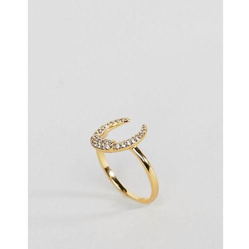Orelia gold plated crystal crescent ring - gold