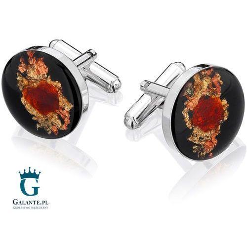 Srebrne spinki do mankietów węgiel i bursztyn w żywicy smw-011 marki Galante