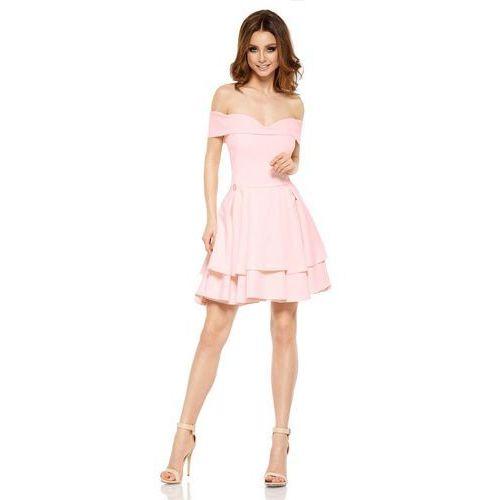 Lemoniade Różowa elegancka imprezowa sukienka z odkrytymi ramiona